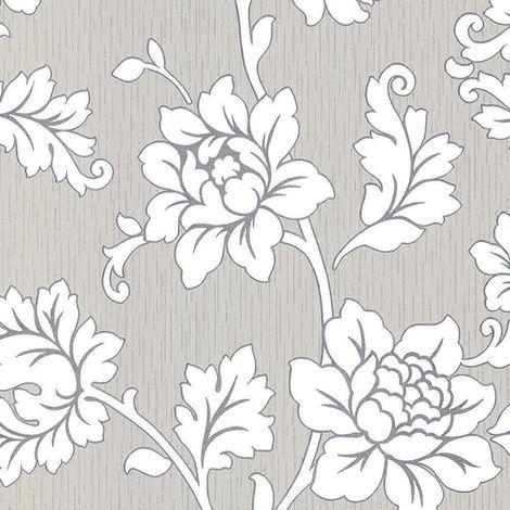 Flower Floral Wallpaper Textured Vinyl Grey Silver Glitter Cream Anya Arthouse