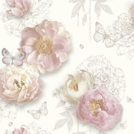 Flower Garden Blush Wallpaper Arthouse Textured Vinyl Glitter Floral Butterfly