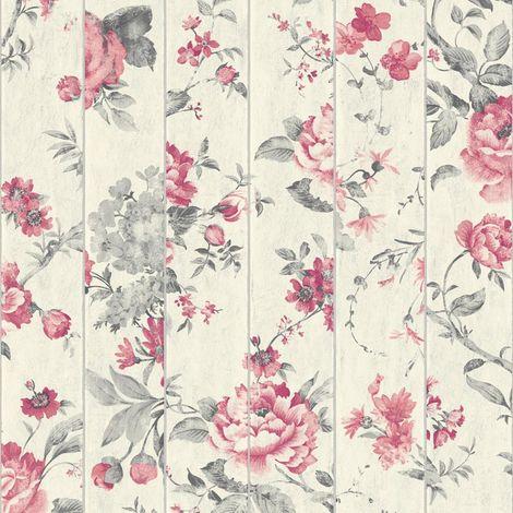 Flower Mural Wood Beam Effect Wallpaper Ugepa Muriva Pink Textured Floral