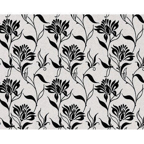 Flower non-woven wallpaper wall EDEM 939-30 heavyweight floral natural white black anthracite 10.65 sqm (114 sq ft)