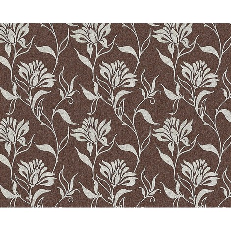 Flower non-woven wallpaper wall EDEM 939-36 heavyweight floral pattern brown silver-grey 10.65 sqm (114 sq ft)