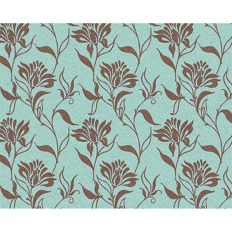 Flower non-woven wallpaper wall EDEM 939-37 heavyweight floral pattern turquoise blue brown 10.65 sqm (114 sq ft)