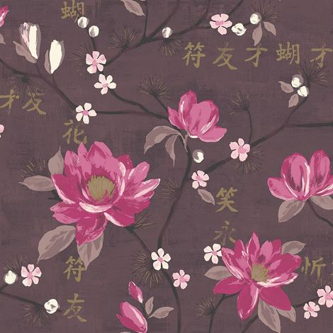 Flower Oriental Floral Wallpaper Kaori Plum Pink Gold Paste The Wall Holden