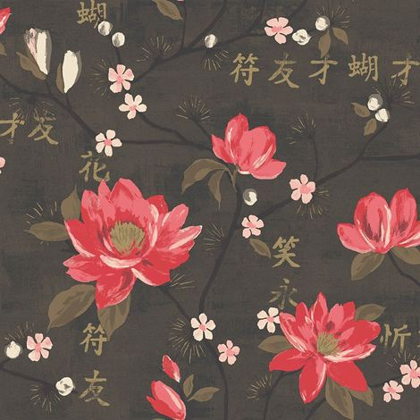 Flower Oriental Floral Wallpaper Kaori Red Charcoal Gold Paste The Wall Holden