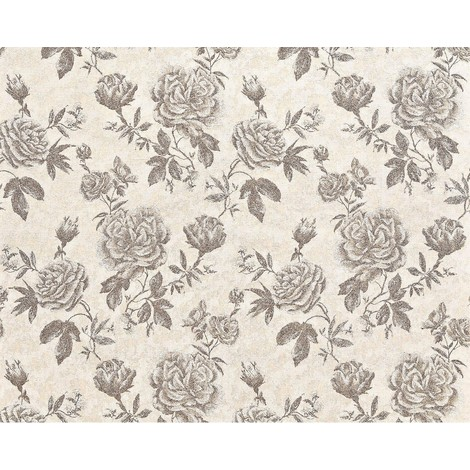 Flower paste the wall wallpaper XXL EDEM 687-93 textured non-woven floral pattern roses and leaves brown beige off-white 10.65 m2