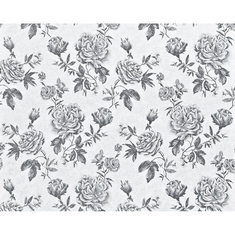 Flower paste the wall wallpaper XXL EDEM 687-96 textured non-woven floral pattern roses and leaves black white grey 10.65 m2