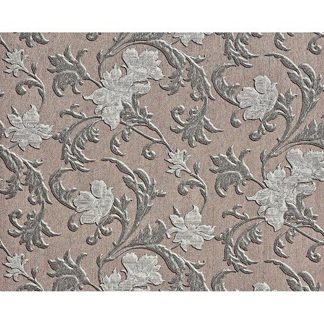 Flower paste the wall wallpaper XXL EDEM 992-36 floral pattern non-woven hot embossed texture brown silver grey 10.65 m2
