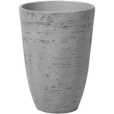 Flower Planter Tall Stone Garden Plant Pot Indoor Outdoor Grey 35x50 cm Camia