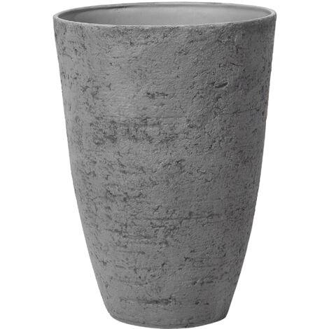 Flower Planter Tall Stone Garden Plant Pot Indoor Outdoor Grey 51x71 cm Camia