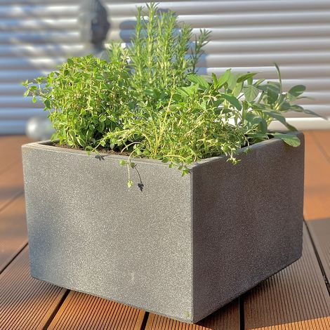 flower pot concrete 35x35cm flower box wood flower trough flower pot square planter anthracite plant pot garden decoration tub flowers plant pot