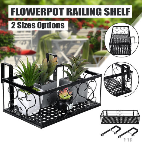Flower Pot Holder Iron Rack Deck Rail Flower Pot Balustrade Shelf Balcony Rail Planter - 50x20x12cm / 30x20x12cm (Type D (11.8x7.8x4.7Inch))