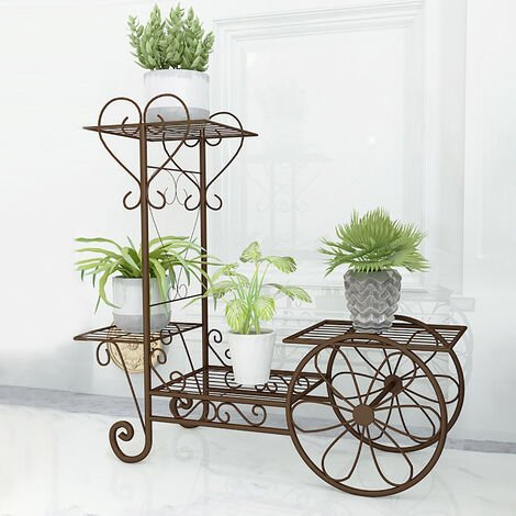 Flower Pots Garden Shelf Rack Metal Plant Stand Bicycle Style