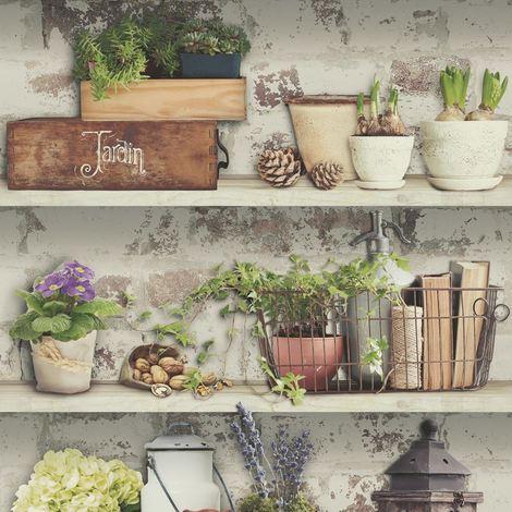 Flower Pots Wallpaper Garden Rustic Shelves Paste The Wall Vinyl