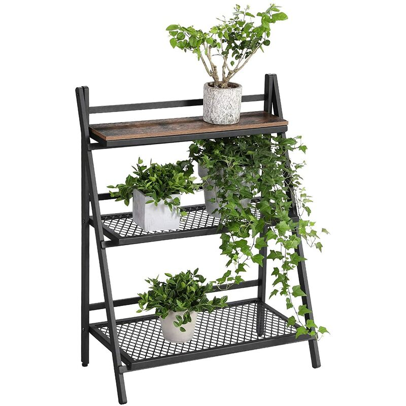 Flower Stand, Folding Plant Stand with 3 Tiers, Plant Ladder, with Metal  Frame, Easy Assembly, for Winter Garden, Balcony, Vintage, LPS33BX