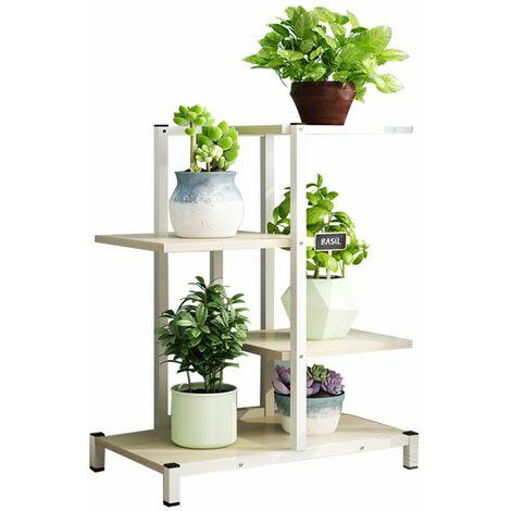 Flower Stand Metal Indoor Outdoor Wood Shelf Garden Display Stand (White, 4 Layers)