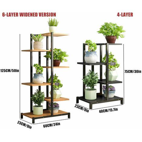 Flower Stand Metal Outdoor Indoor Wood Shelf Garden Display Stand (Black, 4 Layers)