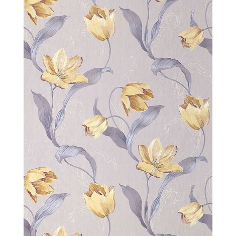 Flower tulip wallpaper wall EDEM 828-22 deluxe deep embossed light grey brillant blue gold brown 75 sq feet
