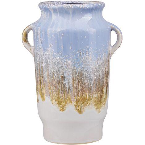 "main image of ""Flower Vase Indoor Planter Pot Ceramic with Handles Blue Gerrha"""