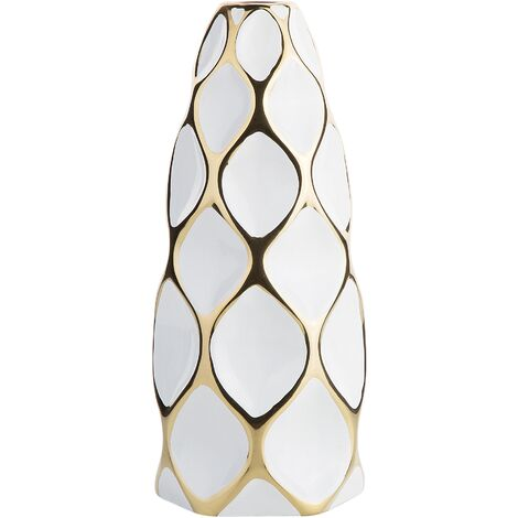 Flower Vase White with Gold AVILA