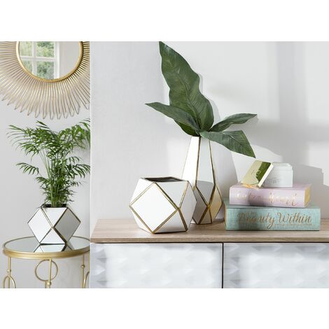 Flower Vase White with Gold OTEO