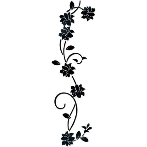 """main image of """"Flower Vine Acrylic Mirror Wall Stickers, Elegant Mirror Setting Wall Sticker, Sticky Wall Mirror Wall Decoration for Home Living Room Bedroom Decor, Black"""""""