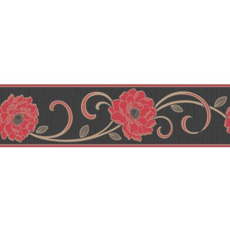 Flower Wallpaper Border Floral Textured Vinyl Florentina Fine Decor Black Red