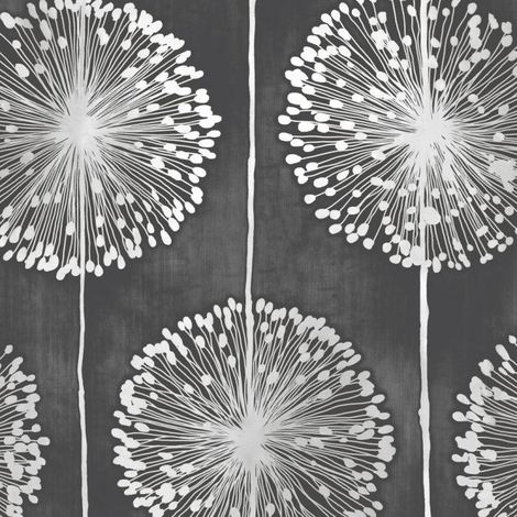 Flower Wallpaper Floral Leaf Paisley Nature Dandelion Black & Metallic Grey