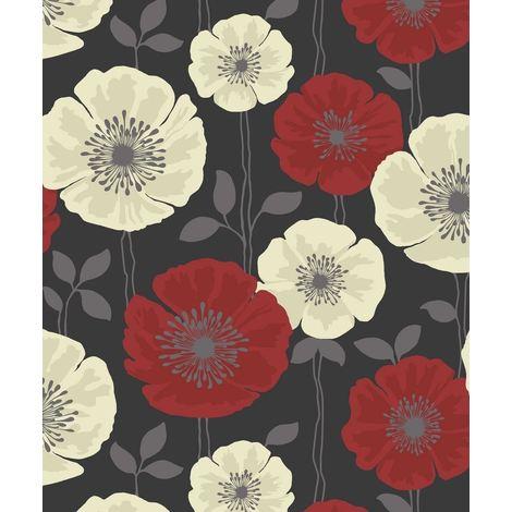 Flower Wallpaper Floral Luxury Heavyweight Poppie Black Red Cream Silver