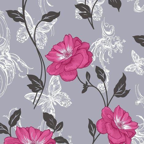 Flower Wallpaper Floral Paisley Modern Millie Grey Pink Black Luxury Modern