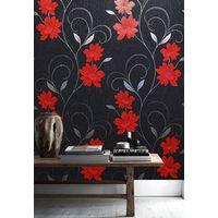 Flower Wallpaper Floral Textured Glitter Effect Metallic Silver Black Grey Red