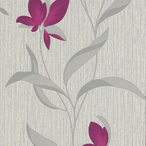Flower Wallpaper Floral Textured Glitter White Purple Silver Vinyl Erismann