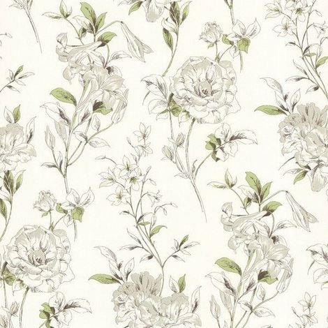 Flower Wallpaper Floral White Cream Green Brown Paste The Wall Modern Luxury