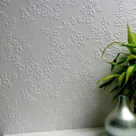 Flower Wallpaper Paintable Luxury Embossed Vinyl Easy Apply Portland Anaglypta