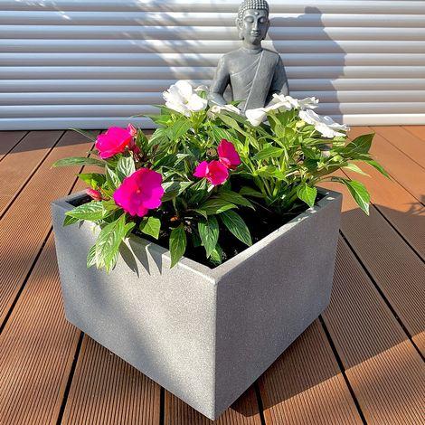 Flowerpot concrete 35x35cm flower box wood flower trough flower pot square planter grey planting box garden decoration tub flowers plant pot