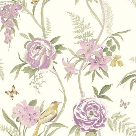Flowers Floral Birds Butterflies Butterfly Leaves Luxury Wallpaper Kew Pink