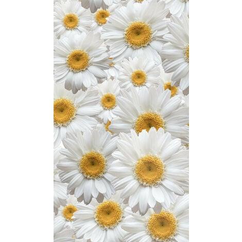 Flowers, rideau imprimé grandes fleurs blanche et jaune 140x245 cm, 1 part