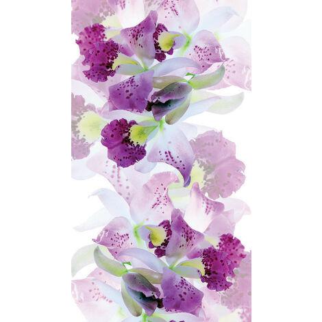Flowers, rideau imprimé zoom sur fleurs blanche et violettes mouchetées 140x245 cm, 1 part