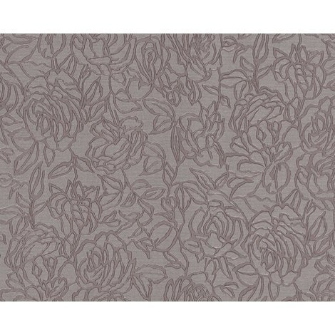 Flowers wallcovering wall EDEM 9040-22 hot embossed non-woven wallpaper embossed with floral ornaments shiny grey brown 10.65 m2 (114 ft2)