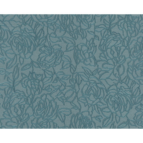 Flowers wallcovering wall EDEM 9040-28 hot embossed non-woven wallpaper embossed with floral ornaments shiny blue 10.65 m2 (114 ft2)