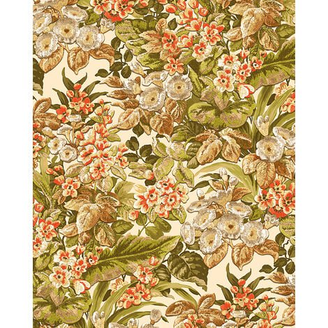 Flowers wallcovering wall Profhome BA220021-DI hot embossed non-woven wallpaper embossed with floral pattern matt beige green brown orange 5.33 m2 (57 ft2)