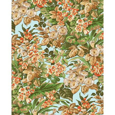 Flowers wallcovering wall Profhome BA220022-DI hot embossed non-woven wallpaper embossed with floral pattern matt blue light blue green orange 5.33 m2 (57 ft2)