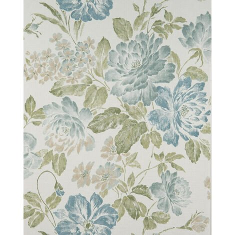 """main image of """"Flowers wallcovering wall Profhome BV919081-DI hot embossed non-woven wallpaper textured with floral pattern matt cream green beige sand yellow fern green 5.33 m2 (57 ft2)"""""""