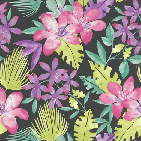 Flowers Wallpaper Floral Tropical Bold Leaf Jungle Black Multi Coloured Rasch
