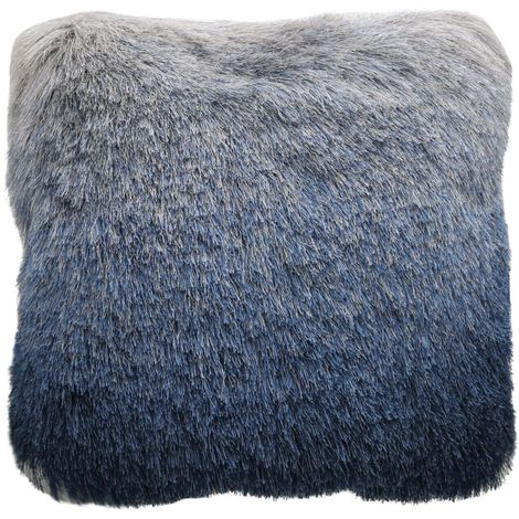 Fluffy Blue Silver Ombre Cushion