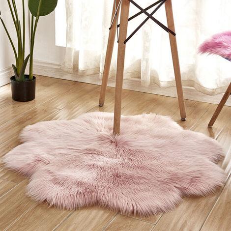 Fluffy Rug Artificial Sheepskin Flower Faux Fur Shaggy Mats