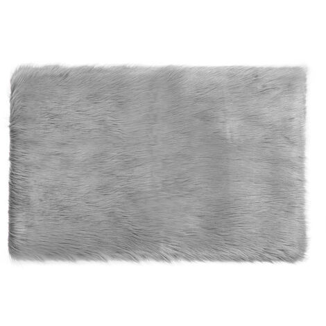 Fluffy Soft Wool Shaggy Area Rugs Faux Fur Hairy Mat Carpet lightgrey 75x120cm