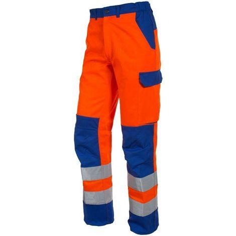 FLUOPRO Pantalon de travail homme haute visibilité ceinture élastiquée MDH