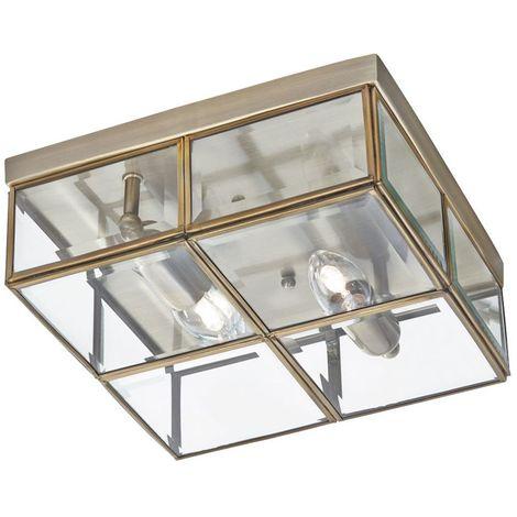 FLUSH - 2 LIGHT FLUSH BOX, ANTIQUE BRASS WITH CLEAR BEVELLED GLASS PANELS