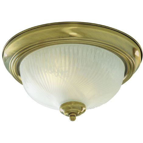 Flush 2 Light Flush ceiling Light antique brass