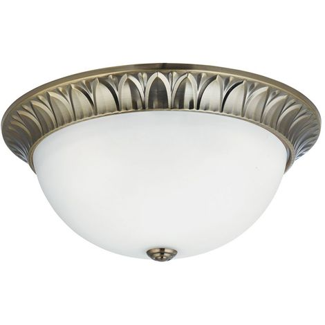 FLUSH - 3 LIGHT FLUSH, ANTIQUE BRASS, RIDGE DETAILED TRIM WITH FROSTED GLASS SHADE DIA 38CM